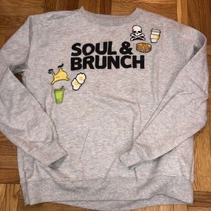Soulcycle grey sweatshirt with patches